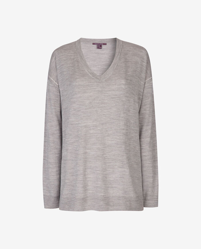 Pullover mit V-Ausschnitt Grau meliert EXTRA