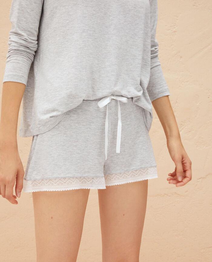 Pyjamashorts Grau meliert DOUCEUR