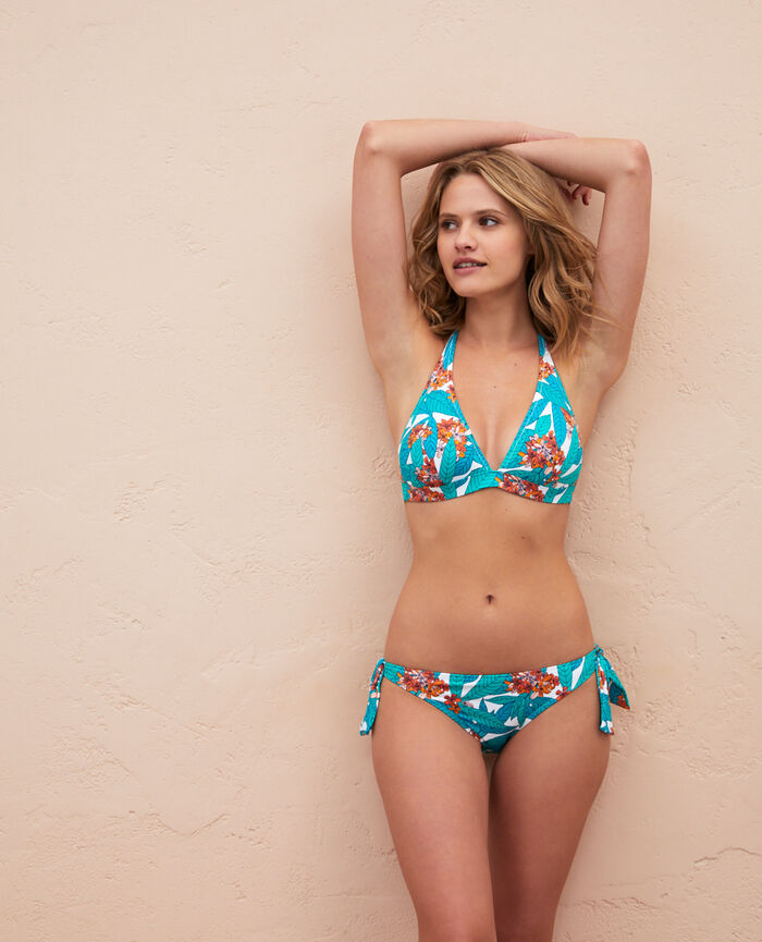 Gepolstertes Triangel-Bikini-Oberteil Botanic Green PRINCESSE TAM.TAM x UNIQLO