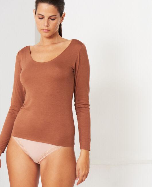 Langärmliges T-Shirt Muskatnuss Braun HEATTECH® INNERWEAR