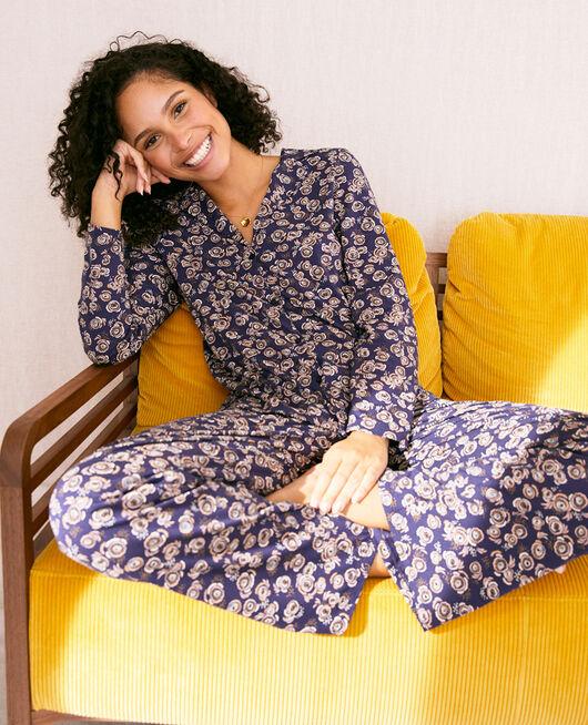 Pyjama-Jacke Fiesta marineblau DIMANCHE PRINT