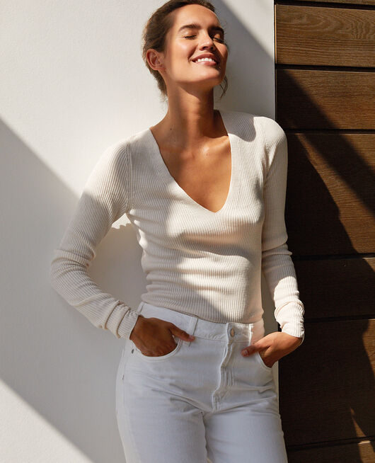 Pullover mit V-Ausschnitt Weiß rosé COCOON