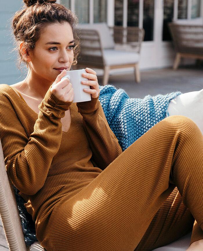 Pullover mit V-Ausschnitt Cocktail braun COCOON