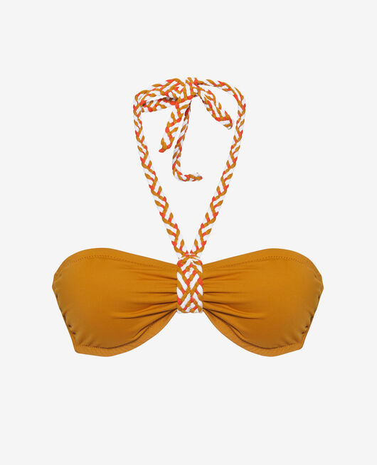 Gepolstertes Bandeau-Bikini-Oberteil ohne Bügel Kümmelgelb NATTE