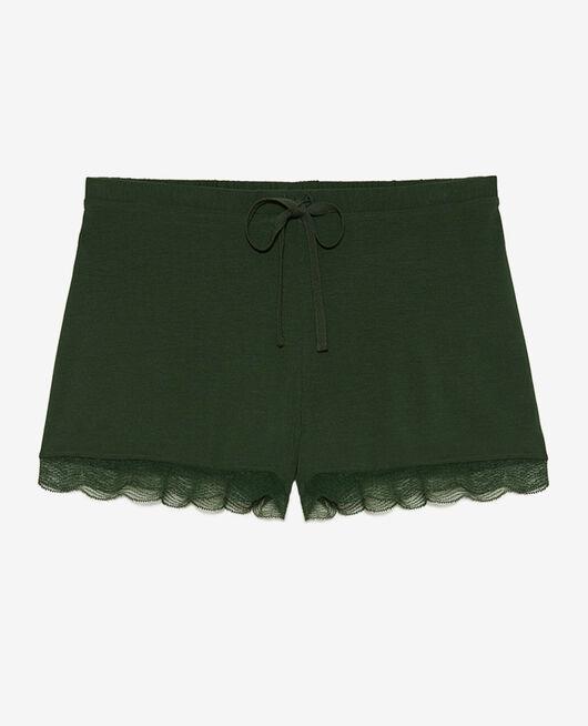 Pyjama-Shorts Zypressengrün DOUCEUR