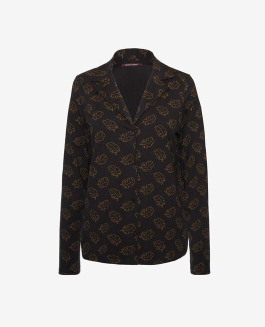 Pyjama-Jacke Leaves noir DIMANCHE