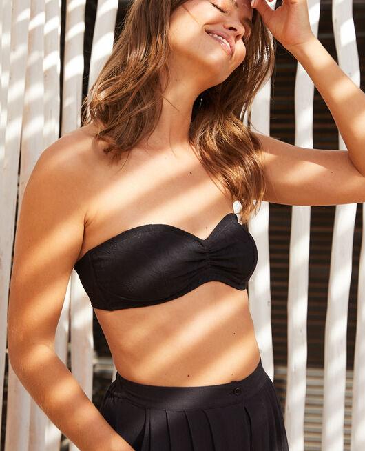 Bandeau-Bikini-Oberteil mit versteckten Bügeln Schwarz POMPON