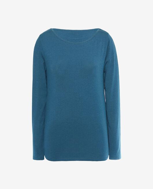 T-Shirt lange Ärmel open neck Jazz blau DIMANCHE