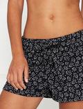 Pyjama-Shorts Blüte Schwarz ECHO