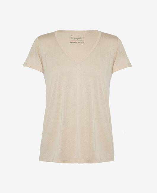 Kurzärmeliges T-Shirt mit V-Ausschnitt Beige Sand LATTE