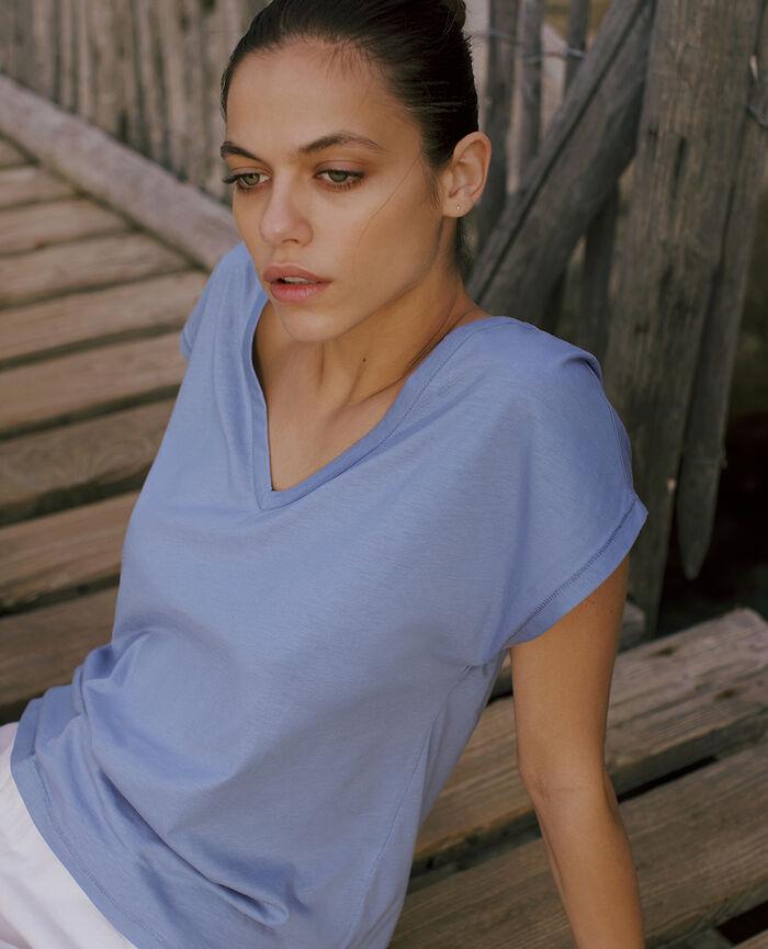 Kurzärmeliges T-Shirt mit V-Ausschnitt Hortensienblau TOP COLLECTION