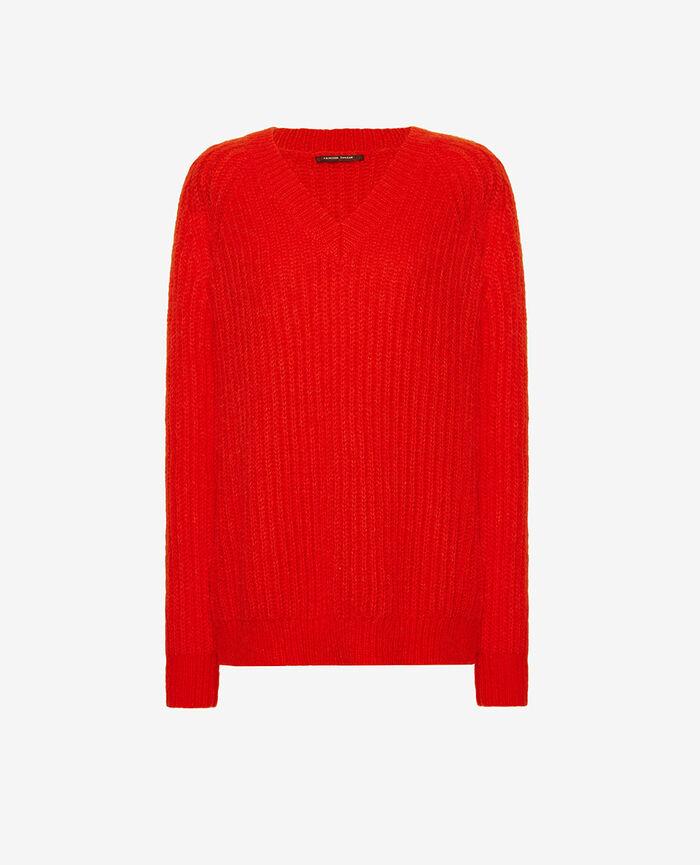 Pullover mit V-Ausschnitt Blinkt rot SENSATION