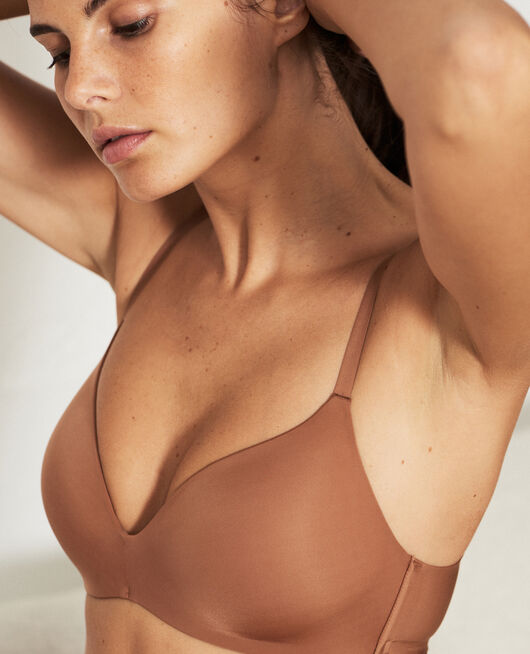 Gemoldeter Triangel-BH ohne Bügel Muskatnuss Braun SECRET