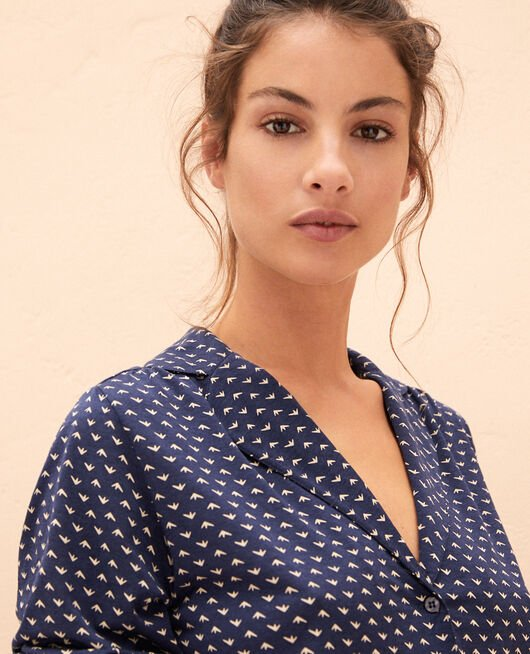 Pyjama-Jacke Blauer Spatz LATTE