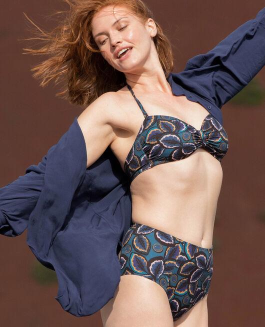 Gepolstertes Bandeau-Bikini-Oberteil ohne Bügel Wachsblau WAX