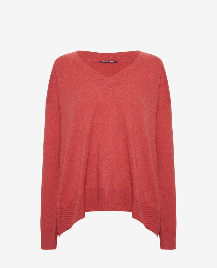 Pullover mit V-Ausschnitt Pfingstrosen rot ICONE