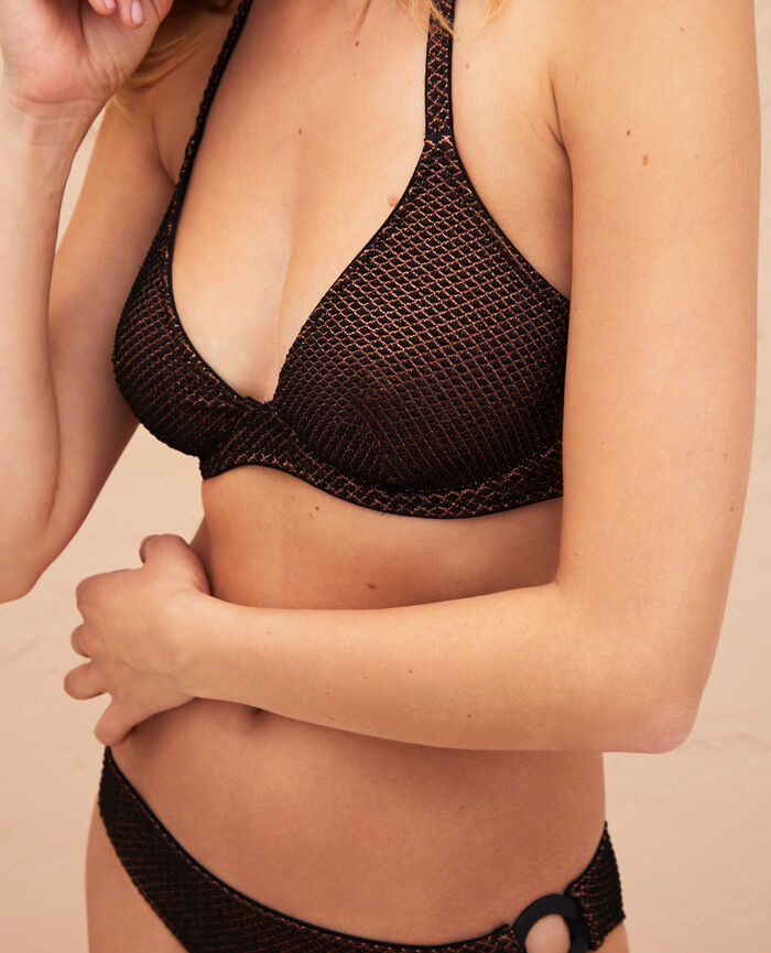 Triangel-Bikini-Oberteil mit Mini-Wire Schwarz JAWAHRA