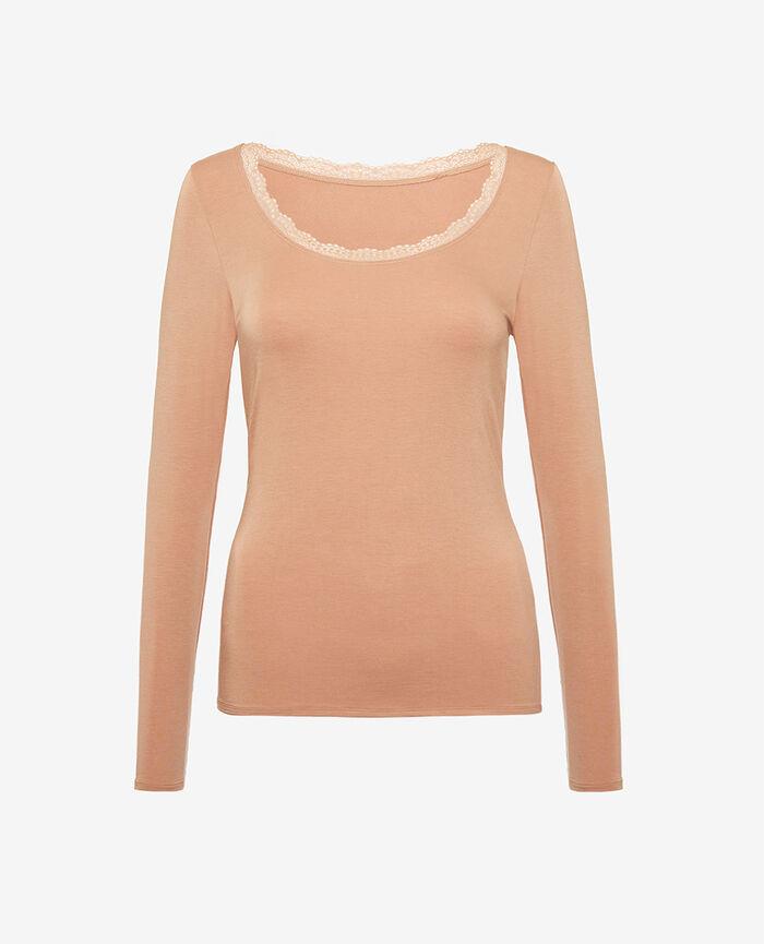 Langärmliges T-Shirt Beige kamel HEATTECH® EXTRA WARM