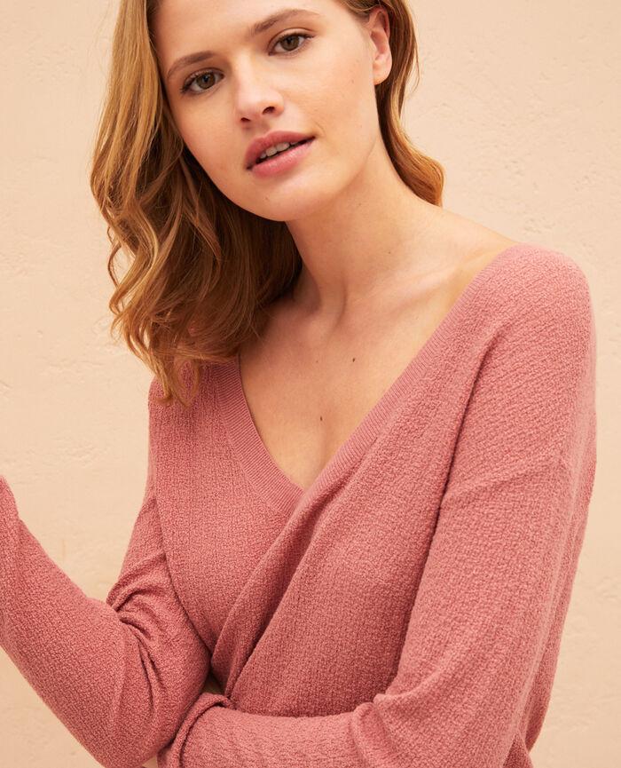 Pullover mit V-Ausschnitt Dünen Beige MAJORELLE