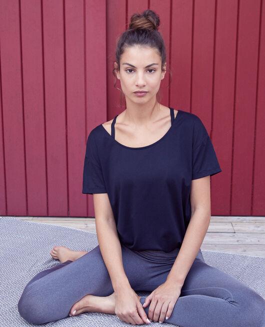 Sport-T-Shirt mit kurzen Ärmeln Schwarz YOGA