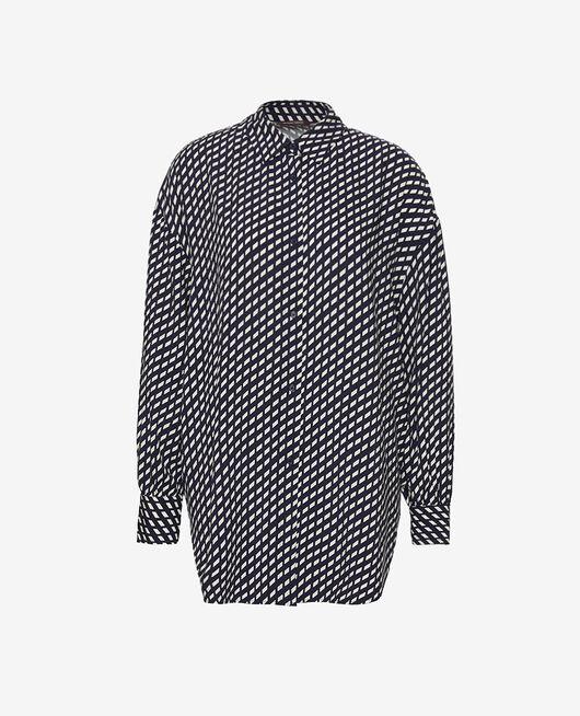 Pyjama-Jacke Confettis marineblau LOUNGE VISCOSE
