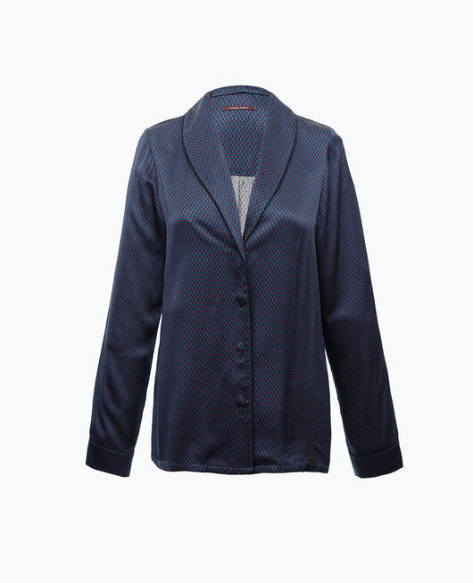 Pyjama-Jacke Blau gepunktet AURORE