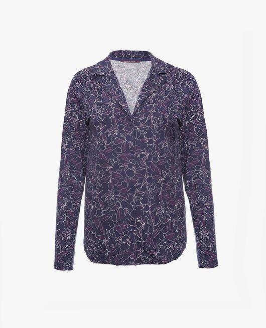 Pyjama-Jacke Floral blau DIMANCHE