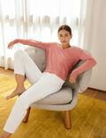 Pullover mit V-Ausschnitt Tango rosa ICONE