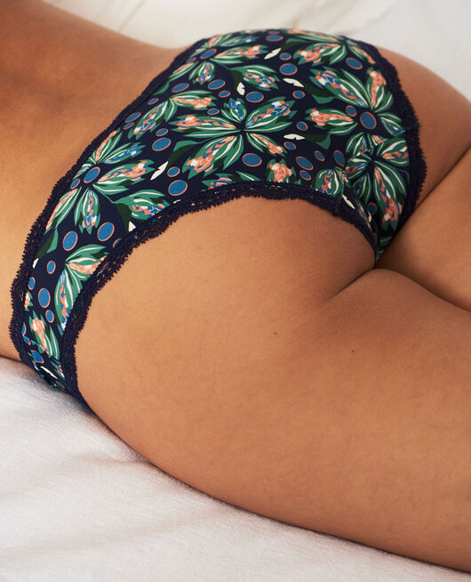Low-cut Slip Blume Marineblau TAKE AWAY