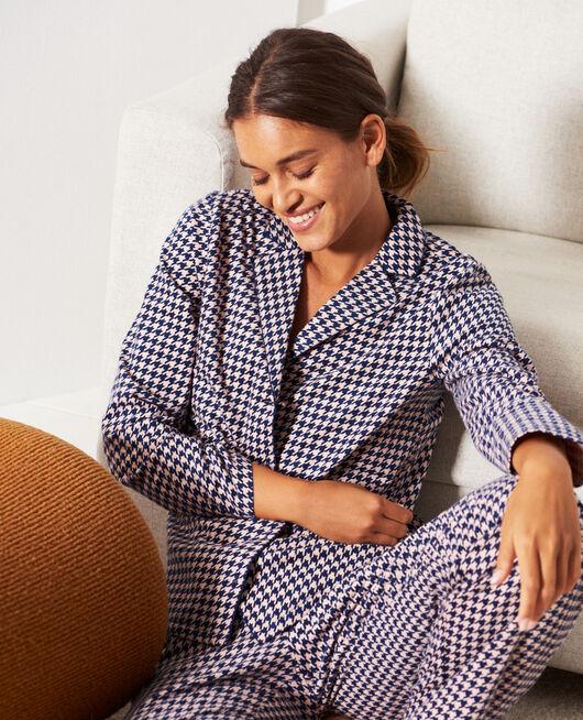 Pyjama-Set Hahnentritt Marineblau DODO
