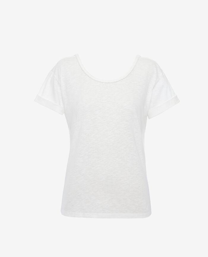 Kurzärmliges T-Shirt rückenfrei mit U-Boot-Ausschnitt Elfenbeinfarben ARGAN