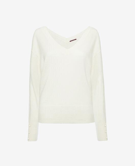 Pullover mit V-Ausschnitt Elfenbeinfarben ICONE