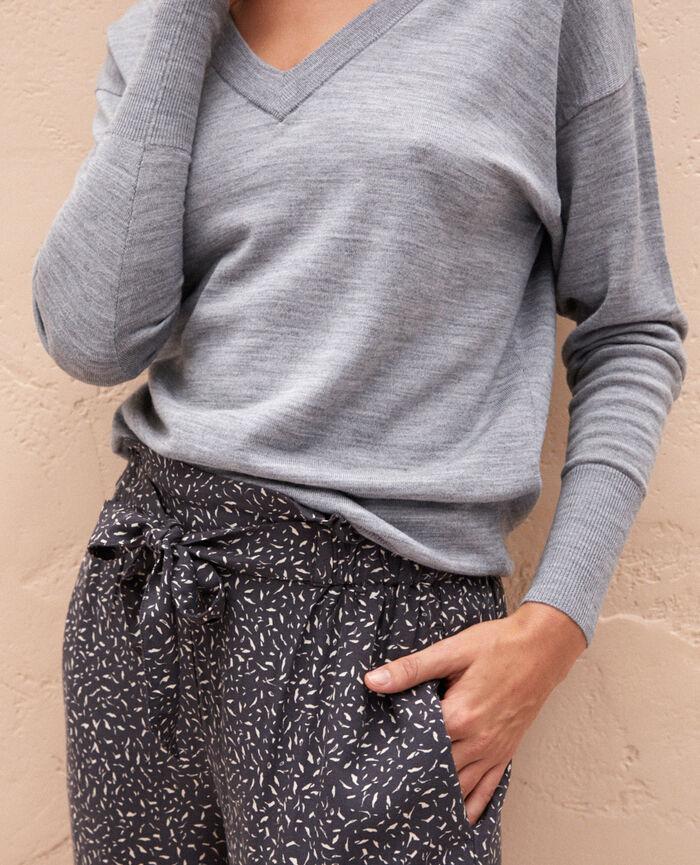 Pullover mit V-Ausschnitt Grau meliert HENRI