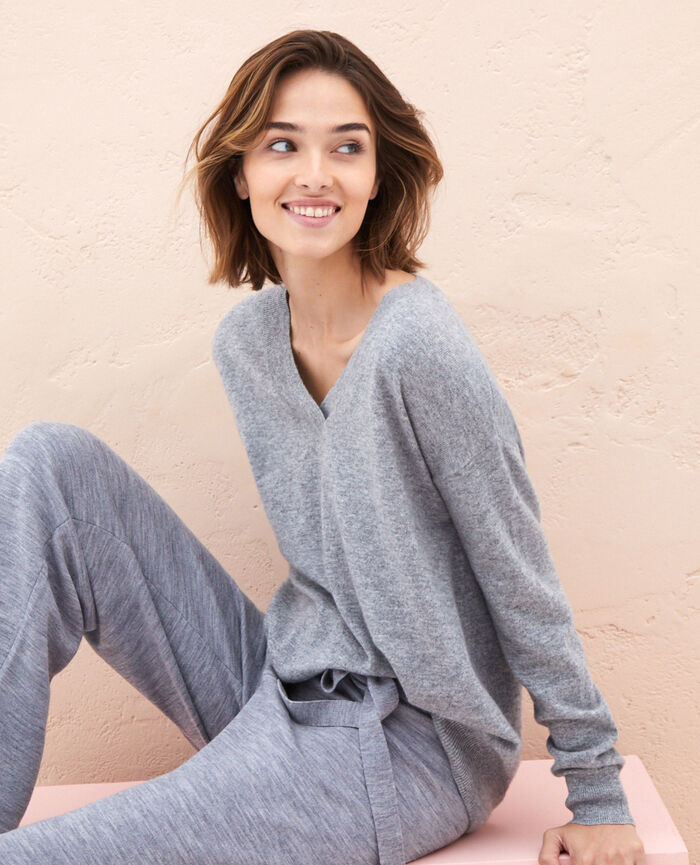 Pullover mit V-Ausschnitt Grau ICONE