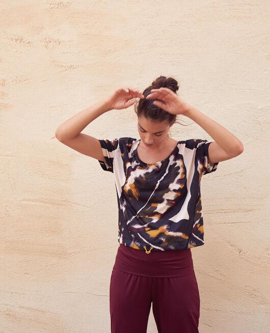 Sport-T-Shirt mit kurzen Ärmeln Mehrfarbige Palme YOGA