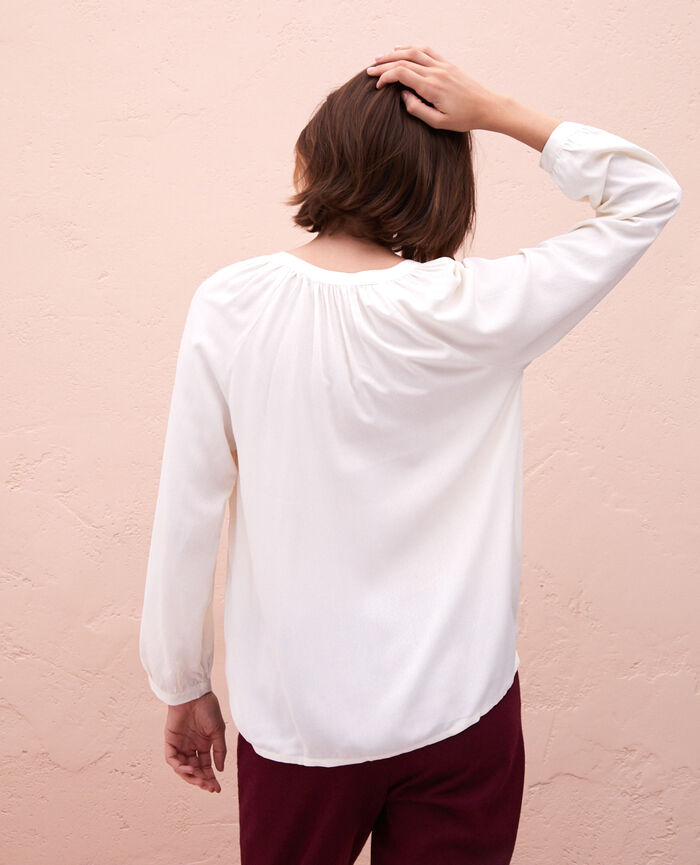 Langärmeliges Hemd Elfenbeinfarben AMPLITUDE