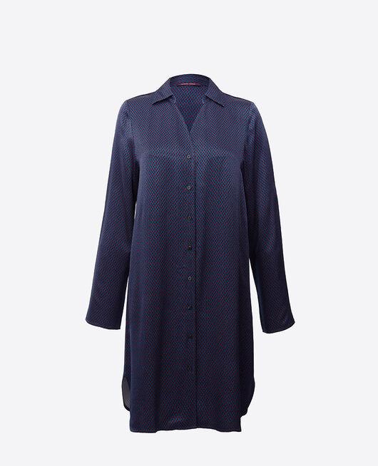 Langärmliges Nachthemd Blau gepunktet AURORE