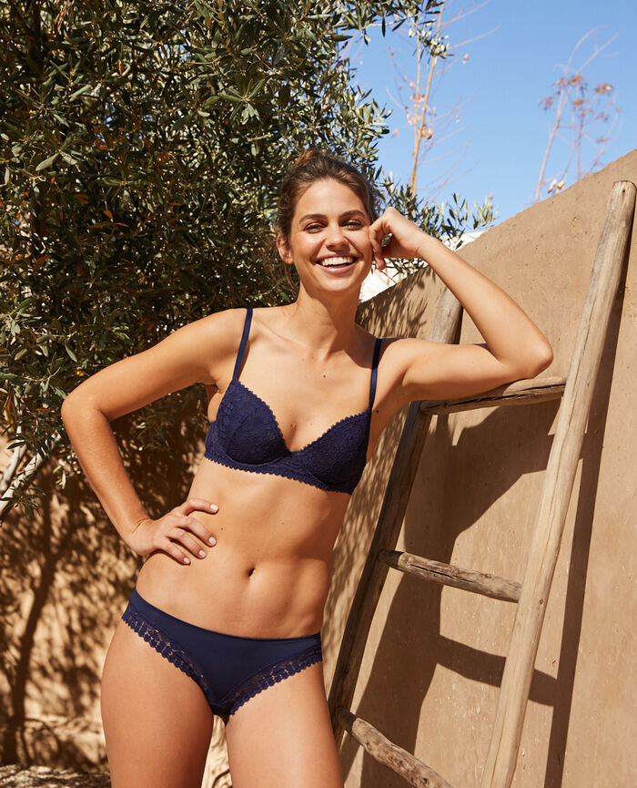 Gepolsterter Push-up-BH Marineblau JOSEPHINE