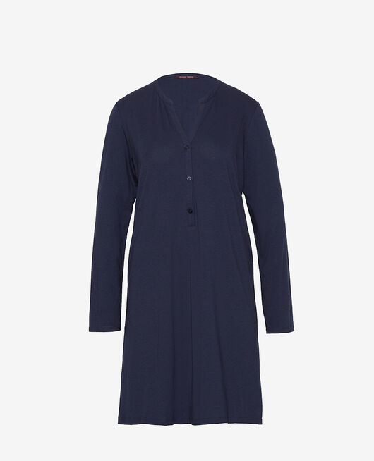 Langärmliges Nachthemd Marineblau DIMANCHE