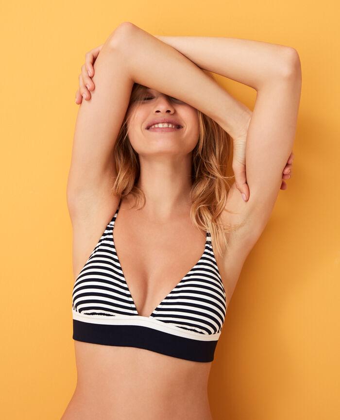 Gepolstertes Triangel-Bikini-Oberteil Blau gestreift LISA