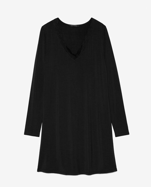 Langes Nachthemd Schwarz DOUCEUR