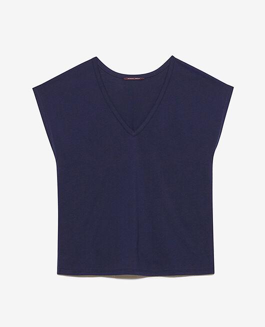 Kurzärmeliges T-Shirt mit V-Ausschnitt Marineblau TOP COLLECTION