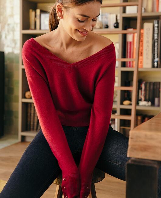 Pullover mit V-Ausschnitt Kamelia rot ICONE
