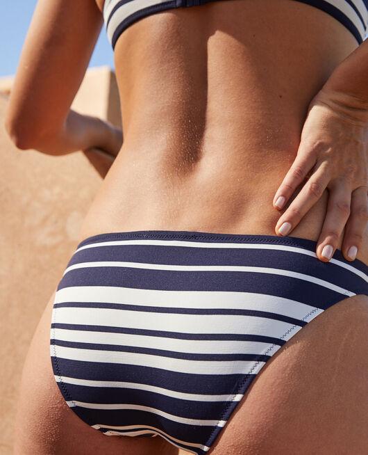 Ausgeschnittener Bikinislip Marineblau gestreift MOUSSAILLON