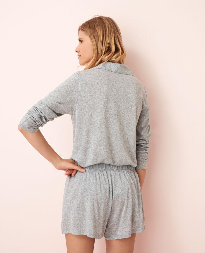 Pyjama-Jacke Grau meliert LATTE