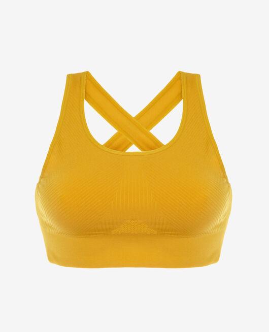Sport-BH Bustier ohne Bügel Gelbgold YOGA