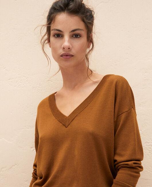 Pullover mit V-Ausschnitt Bronze HENRI