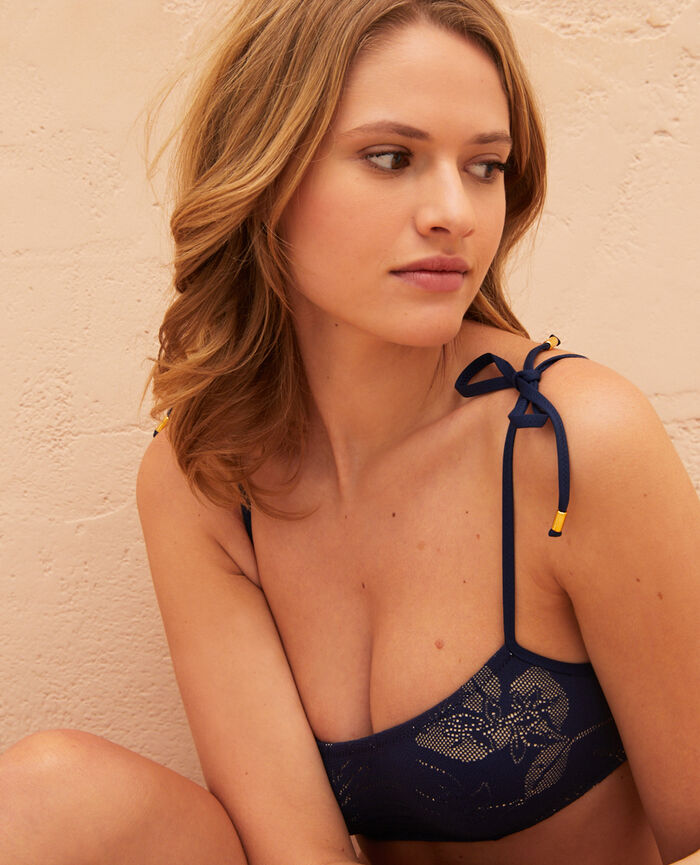 Bandeau-Bikini-Oberteil mit versteckten Bügeln Nachtblau GUELIZ