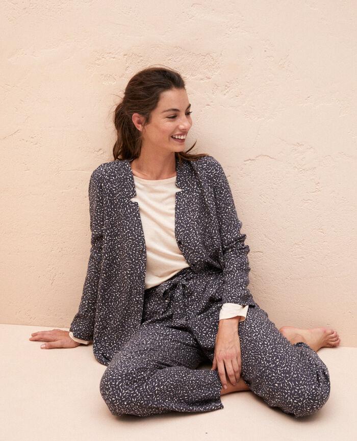 Pyjama-Jacke Optik Grau PICTURAL
