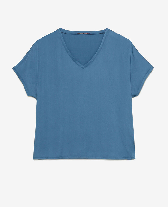 Kurzärmliges T-Shirt Gewitterblau ATTITUDE